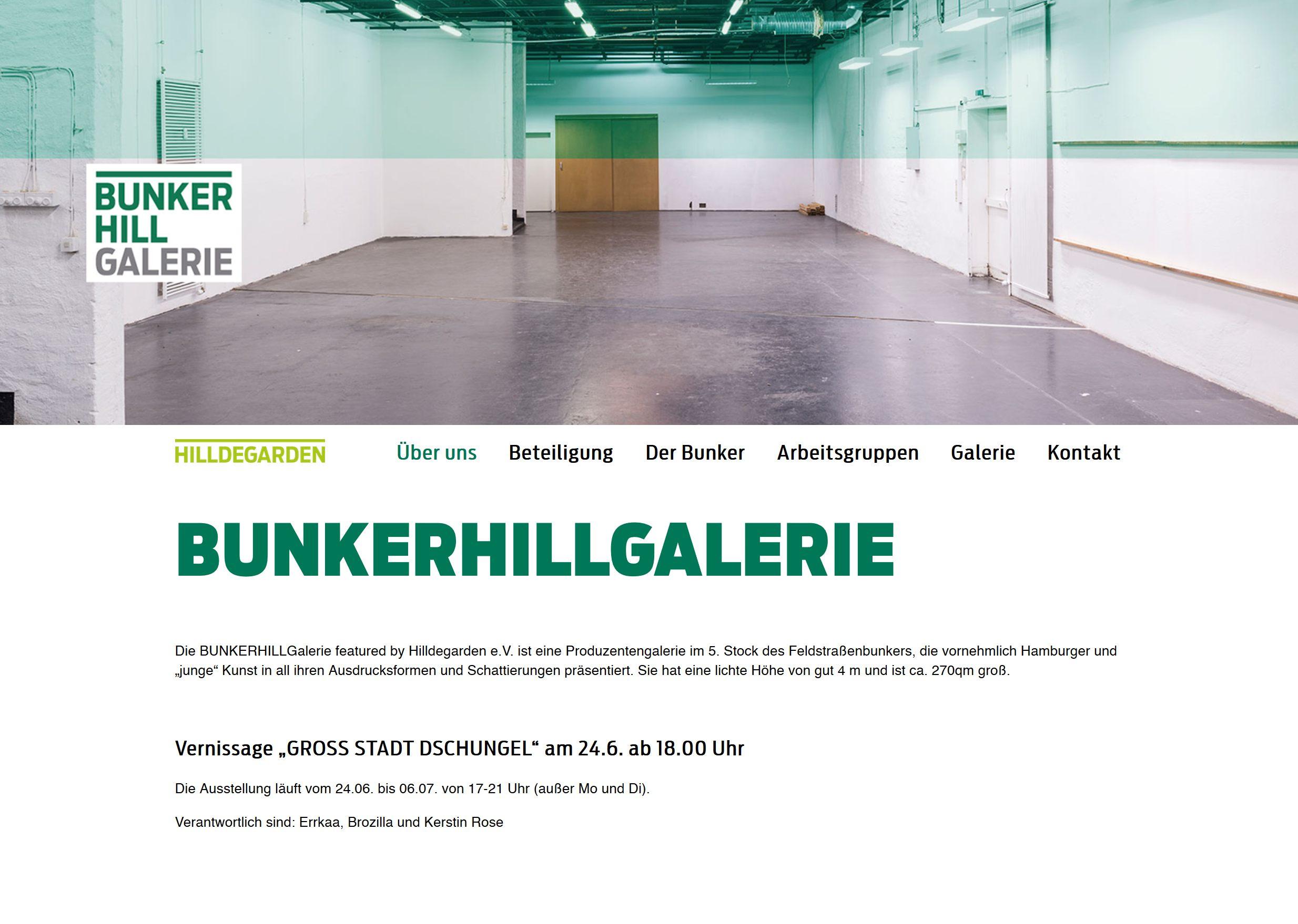 Webseite Bunkerhillgalerie