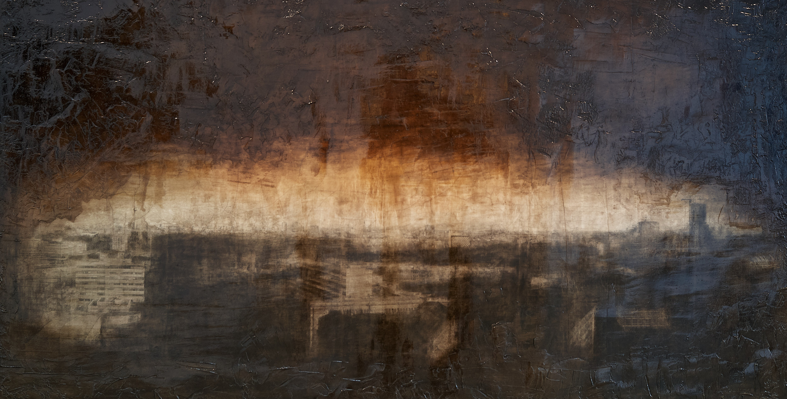 Toteninsel mit Großstadtmotiv